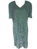 Vintage Mark & John by Sam Size L Emerald Green Black Silk Beaded Sequin Dress