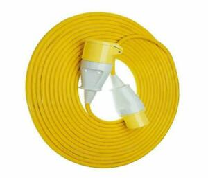 Extension Lead Cable Reel 110 Volt 14M Hook Up Yellow 16A 1.5mm 16 Amp 110V