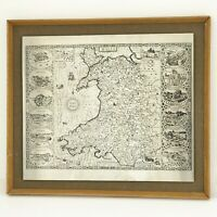 VINTAGE ANTIQUE ETCHING ON METAL - OLD MAP OF WALES FRAME 42 X 36.5CM
