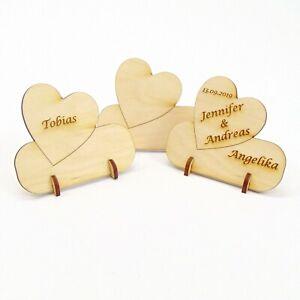 Tischkarte Namensschild Hochzeit Herz Platzkarte Holz Gravur Hochzeitstischkarte