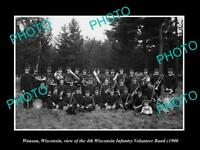 OLD LARGE HISTORIC PHOTO OF WAUSAU WISCONSIN THE WI 4th INFANTRY BAND c1900