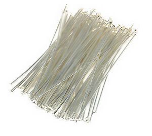 silver plated headpins 2 inch 21 gauge