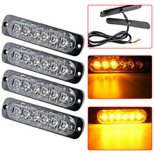 4X Amber 6 LED Car Truck Emergency Beacon Hazard Warning Flash Strobe Light Bar