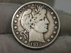 Fine 1913-s Barber Half Dollar. #38