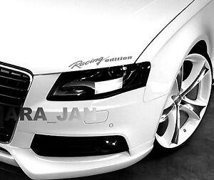 Racing edition Decal Sticker Headlight Taillight Eyebrow sport car racing SILVER