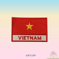 Vietnam National Flag With Name Embroidered Iron On Patch Sew On Badge Applique