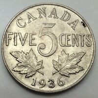 1936 Near Rim Canada Large 5 Five Cents Nickel Circulated Canadian Coin D434