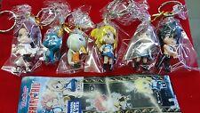 Tomy Takara Fairy Tail 6 Character Figure Anime Keychain Set Keyring Manga Toy