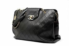 Auth CHANEL VINTAGE Largest Weekend Business Tote Satchel Black Gold HW 18 x 14
