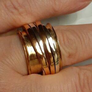 Designer Fine Mixed Metals Sterling Silver Copper spinner  Meditation Ring 7.5