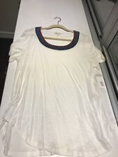NWT Women's Ella Moss Short Sleeve Tee With Colorful And Beaded Neckline, size M