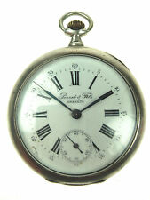 Old Antique SWISS Made PERRET & FILS BRENETS Pocket Watch 84 SILVER 875 Nr 4009
