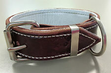 Small Brown Leather Dog Collar with Soft White Leather Inner Lining