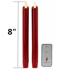 8'' Luminara Flameless LED Taper Candles With Remote and Timer Set of 2 Red