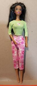 Black African Christy Barbie articulated jointed arms Pink & Green Outfit C100