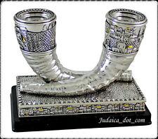Silver Plated Shabbat Candlesticks Shofar Candle Holders Jerusalem Judaica Gift