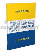 1961 Chrysler Shop Manual Supplement New Yorker Imperial Windsor Saratoga Repair