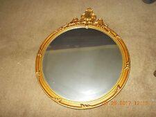 Antique Large Round Art Nouveau Gold Gesso Wood Frame Mirror