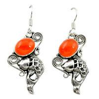 Natural Orange Cornelian (carnelian) 925 Silver Fish Earrings D15963