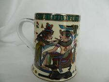 Egyptian Pharaoh Porcelain Beer Mug Collectible Tut Queen Green Beige Gold #4046
