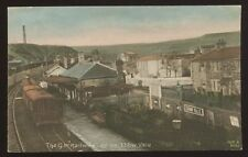 Wales Monmouthshire  EBBW VALE GWR train at Railway station early vintage PPC