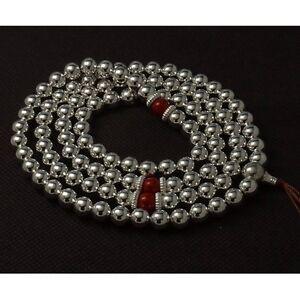 8mm Tibetan Buddhism 108 Tibetan silver Hollow Bead & Spacer Bead Mala Necklace