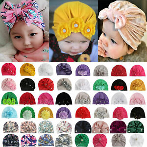 Toddler Kids Indian Beanie Turban Head Wrap Hats Girls Infant Velvet Cotton Cap