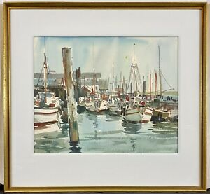Original Harry Leith-Ross Watercolor Sailboats in Harbor, New Hope Impressionist