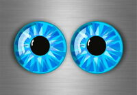 2x sticker eye helmet vinyl motorcycle kart evil eyes van racer decal blue