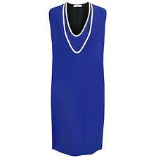 BOUCHRA JARRAR PARIS $1610 blue ivory silk trim layered 45 shift dress 40-Fr NEW