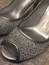 ADRIANNA PAPELL Silver Sparkly Heels Pumps Evening, Wedding, Women Shoe Sz 6.5