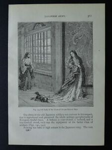 Japan JAPANESE LADY OF THE COURT Original Victorian Print by Figuier c1893