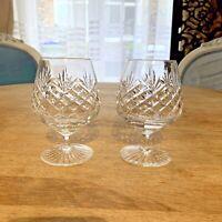 PAIR BRANDY SNIFTERS / COGNAC GLASSES BALLOONS CRYSTAL VINTAGE