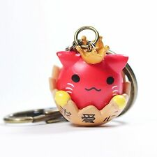 Cute Chinese Cat In Egg Shell Amine Lucky Cat Key-chain Gift (Red)