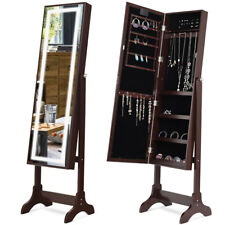 Touch Screen LED Light Mirrored Jewelry Cabinet Armoire Standing Organizer Brown