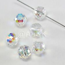 6 pcs Swarovski 5003 10mm Faceted Round Disco Ball Crystal Beads Clear AB