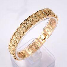 """18K Yellow Gold Filled Men/Women 7.7""""Bracelet 11mm flower Chain Link Gf Jewelry"""