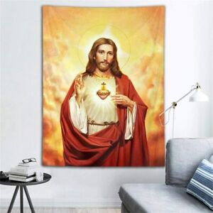 Jesus Christ Tapestry Holy Heaven Gold Heart Wall Hanging Home Bedspread Cover