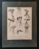 "Antique Fashion Print Hand Coloured ""Englishwoman's Domestic Magazine circa 1867"