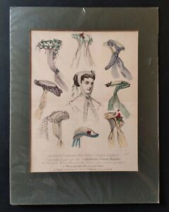 "Antique Fashion Print Hand Coloured ""Englishwoman's Domestic Magazine circa 1867"