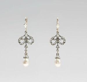 9901320 925er Silber Ohrringe Swarovski-Steine Schleife Zuchtperle L4,5cm