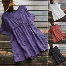 ZANZEA 8-24 Women Summer Hollow Out Eyelet Floral Blouse Button Up Top Tee Shirt