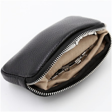 Soft Genuine Leather Black Travel Portable Watch Protection Zipper Pouch Case