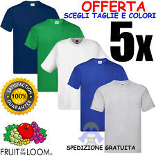 SET di 5 T-Shirt FRUIT OF THE LOOM Cotone VARI COLORI Maglia MANICHE CORTE Uomo