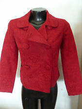 Talbots Petite Red Brocade Jacket Festive Double Breasted Cotton Blend P
