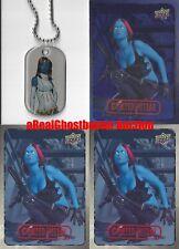 Mystique Dog Tag + 2 Base Cards & 1 Foil Card - Upper Deck Marvel Dossier X-Men