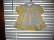 Vintage Baby Girls Yellow~ White  ~ Lace  ~Embroidered Dress Sz 3-6 Mos.