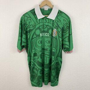 Vintage Vtg 90's Mexico National Home Soccer Jersey Sz L Futbol FIFA World Cup