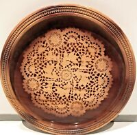 """Vintage Engraved Circular Round Wood Serving Tray Platter Board Tea Table 12.5"""""""