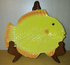 Vintage Orange & Yellow Ocean Reef Fish Nautical Soap Sponge Holder Trinket Dish